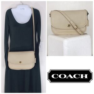 Coach RARE VTG Cream Leather City Flap Crossbody